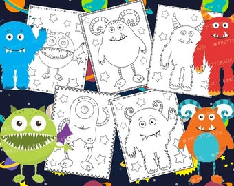 Monsters Coloring Pages - The Crayon Crowd, cute, printable, party, party favors, Coloring book, Sheets, kids, pdf, space, monster