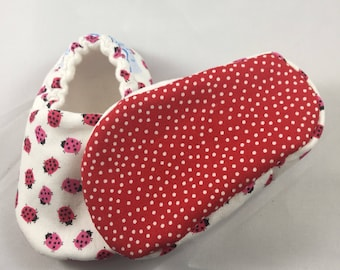 Soft sole baby shoes, crib shoes, baby shoes, baby slippers, lady bugs shoe, baby shower gift, baby girl shoes, baby moccasins, toddler shoe