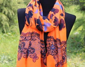 Butterfly Scarf Shawl  / Orange Scarf / Gifts For Mom / Scarf for Women / Summer Scarf / Butterfly's Shawl Scarf / Animal Print Scarf