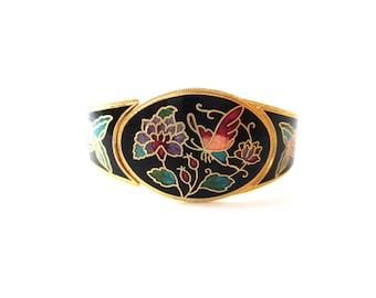 80's Unsigned Oval Shaped Gold tone Metal Black Cloisonne Enamel Colorful Butterfly & Floral Motif Hinged Clamper Bracelet
