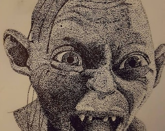 Dotwork piece of Golem Lord of the rings