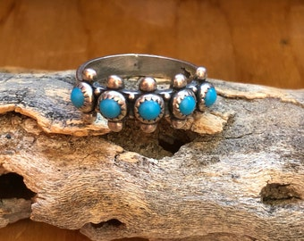 Turquoise Zuni Ring- Petit Point- Native American Jewelry- Stamped Ring- Sleeping Beauty Turquoise- Boho Chic- Bohemian Gifts- Size 4.75