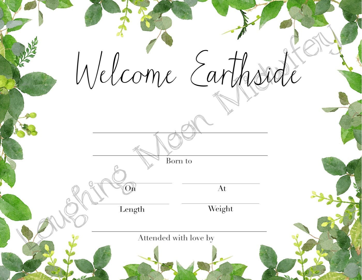 Commemorative birth certificate welcome earthside floral zoom aiddatafo Choice Image