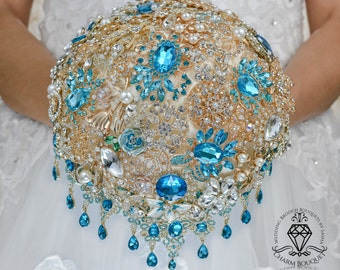 Brooch bouquet, Jeweled bouquet, Cascading bouquet, Turquoise bouquet, Bridal bouquet, Crystal bouquet, Wedding bouquet, Bridesmaid bouquet