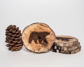 Bear West Coasters - Wood Coasters - Driftwood Engraved Coasters - Sustainable Gift - West Coasters - Wood - Eco Houseware - Laser Engraved