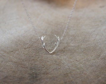 Antler necklace etsy sterling silver antler necklace reindeer necklace silver necklace layered necklace christmas gift boho bohemian simple necklace aloadofball Gallery