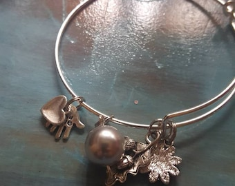 Stainless steel bangle bracelets with fall autumn charms and glass beads 2 for 8.00