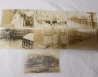 Lot of 7  postcards Montpelier VT  1927 Flood