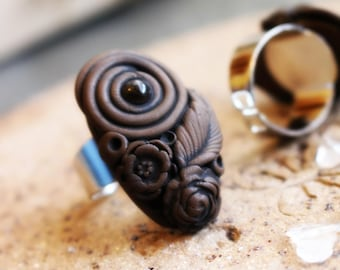 Clay & Gemstone Ring - Quartz - Fully Adjustable - Floral Flower Ring  . Handmade Clay Jewelry . Goddess . Crystal and Gemstone Jewelry