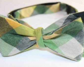Dorman Check Bow Tie - Green/Yellow