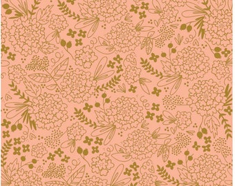 Pink Gold fabric, On Trend Pink and Gold Floral, Woodland Nursery Decor, Woodland fabric , Choose Your Cut