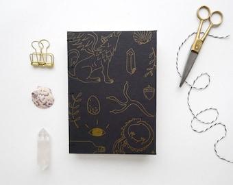 Curiosities Journal / Letterpress Gold Blank Notebook / Hand Bound Coptic Book / Fantasy / Witch