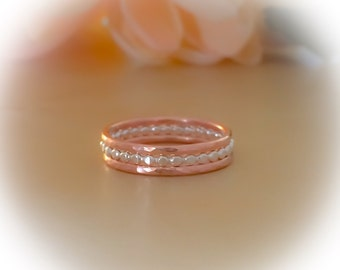 Gold and Silver Rings, Dot Ring & 14k Rose Gold Filled Stack Set, Sterling Silver Dot Ring, Stackable Rings, Etsy Gift Ideas, Hammered Ring