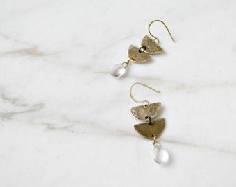 Double half moon earrings, brass and crystal quartz drop gemstones, aztec tribal earrings
