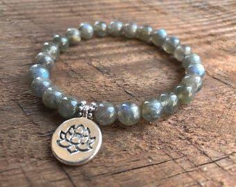 Labradorite Bracelet, Chakra Bracelet, Healing Meditation Bracelet, Yoga Bracelet, Wrist Mala, Lotus Bracelet, Healing Crystals