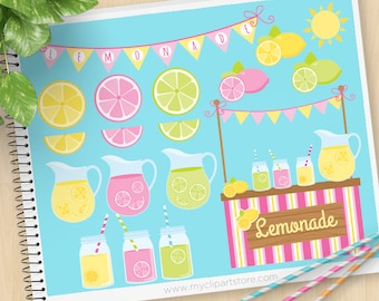 Pink Lemonade Stand Clipart, summer fruit clipart, garden party, pink lemonade, mason jars, Commercial Use, Vector clip art, SVG Cut Files