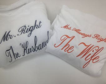 personalized couple gift mr and mrs robes his hers robes. Black Bedroom Furniture Sets. Home Design Ideas