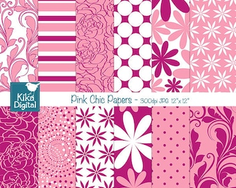 SALE Pink Digital Papers - Pink Chic Digital Scrapbook Papers - card design, invitations, background, paper crafts - INSTANT DOWNLOAD