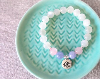 Moonstone, Aquamarine and Rose Quartz Fertility Bracelet, TTC Journey, Infertility, Pregnancy Gift