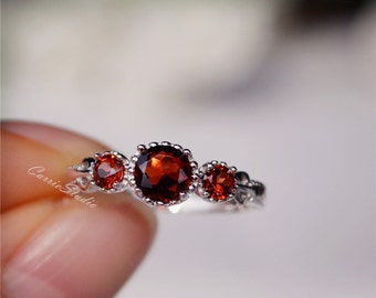 Antique Natural Garnet Ring Silver Garnet Engagement Ring Anniversary Ring Birthday Present/Gift