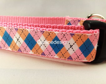 Pink and Blue Argyle, 1 inch wide, adjustable, quick release, metal buckle, chain, martingale, hybrid, nylon