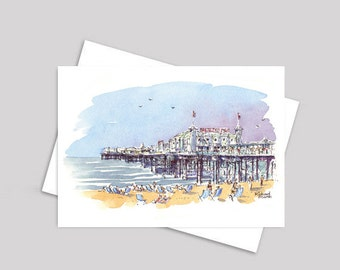 BRIGHTON PIER CARD, Brighton Beach, Deck Chairs, Brighton, Summertime, Greeting Card, Seaside, Card, Watercolour, Birthday Card, Pen and Ink