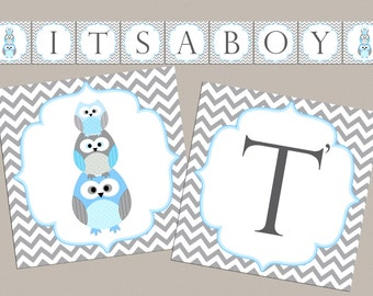 Boy Baby Shower Banner It's a boy Owl Baby Shower decorations boy baby shower banner blue grey (562) instant download