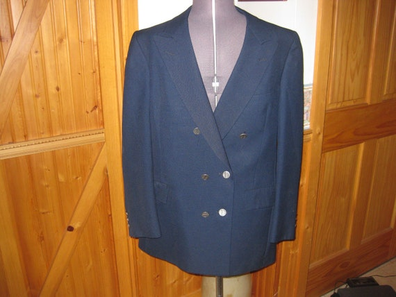 Mens Vtg fuso dora Martzotto Italian 60s wool Navy double Breasted 38 Blazer silver button front md in italy very Mod hippie 60s free ship nCjPAsdc