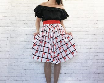 Vintage 70s Does 50s Ruffled On Off Shoulder Rockabilly Peasant Top Patio Belted Swing Dress Red Black White