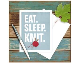 Knitting Card, Funny Greeting Card, Blank Note Card, Funny Note Card, Knitting Art, Knitter Gift, Knitting Notecard, Eat Sleep, Yarn Art