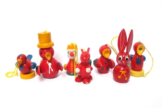 Red Erzgebirge Wood Easter Ornaments