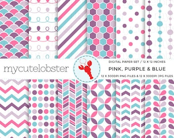 Pink, Purple & Blue Digital Paper Set - patterned paper pack, polka, chevron, stripe - personal use, small commercial use, instant download