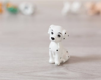 101 Dalmatians Puppy Figurine - Vintage Disney Porcelain China Glazed Ceramic Novelty Toy Statue - Black and White Spotted Dog