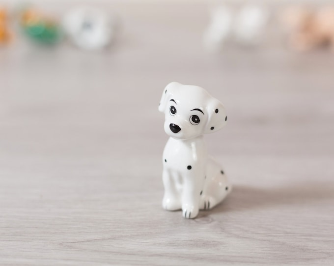 101 Dalmatians Puppy Figurine - Vintage Disney Porcelain China Glazed Ceramic Novelty Toy Statue - Black and White Spotted Dog
