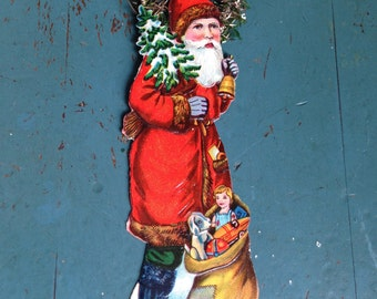 Antique Christmas Victorian Embossed Scrap Ornament Santa Claus Die Cut Tinsel Early 1900s Holiday Xmas Decor Display Belsnickle Folk Art