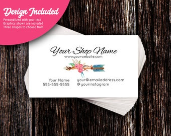 Business Cards - Custom Business Cards - Personalized Business Cards - Mommy Calling Cards - Floral Arrow