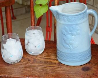 Antique Blue and White Salt Glazed Stoneware Pitcher Flower Design