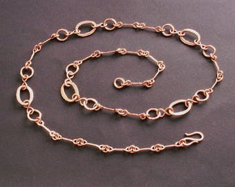 Copper 7th anniversary gift, long copper chain necklace, copper chain, copper jewelry, copper gift for her, handmade chain necklace
