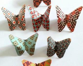 7 papillons en origami papier japonais vintage