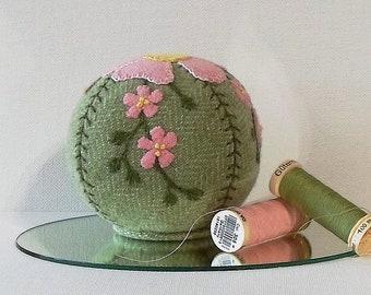 Handmade Pincushion Felted Wool Pink Flowers on a Green Pincushion