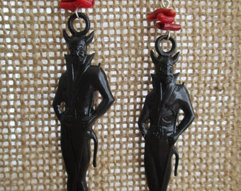 Devil Earrings With Deep Red Coral Sticks Fire Accents