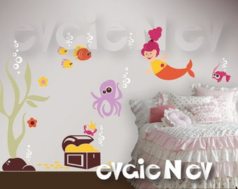 Under the Sea Nursery Wall Decals - Mermaid, Octopus, Seaweed, Crabs & Treasure Chest - PLMRM010