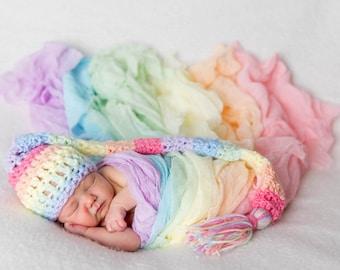 Pastel Rainbow Baby Elf Hat, Newborn Photo Prop