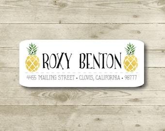 Pineapple, Return Address Label, Custom, MATTE, Fruit, Festive, Typography, Watercolor style