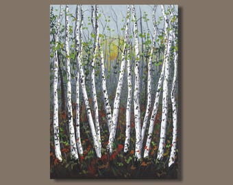 quaking aspens, large birch tree painting, birch trees, large abstract painting, landscape painting, vertical wall art, 40x30, tree painting
