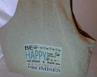 Walking project bag, Be happy bag, Polite project bag, On the go project bag