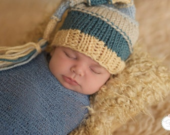 Newborn Tassel Hat - Baby Tassel Hat - Blue Tassel Hat - Baby Boy Hat - Striped Baby Hat - Striped Newborn Hat - Blue Striped Baby Boy Hat