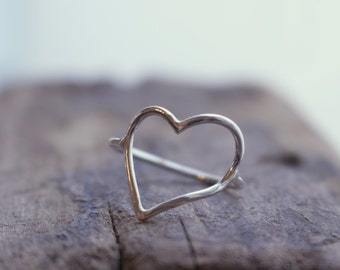 Open Heart Sterling Silver Ring - Large heart midi ring