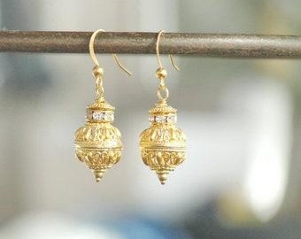 Oriental Gold Plated Earrings - Rhinestones and Metal