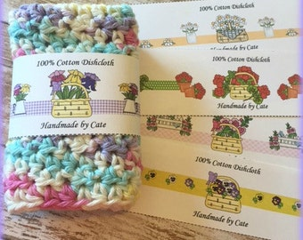 Flower Basket Dishcloth/Washcloth Labels - PDF FILE ONLY